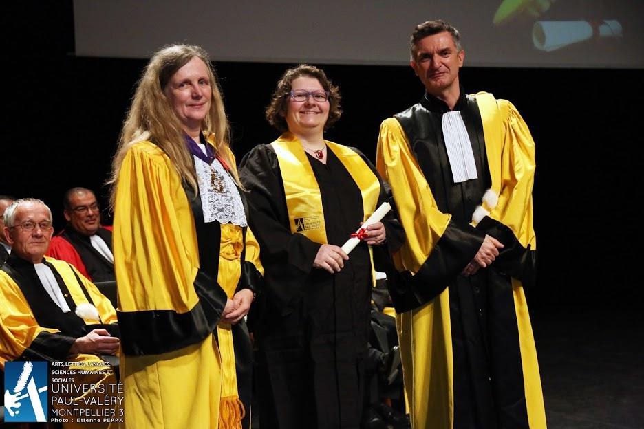 Isabelle Anselme, nouveau docteur entre les Professeurs Anne Fraïsse, présidente de l'UPV-M3 et Jean-Michel Ganteau, directeur de l'Ecole doctorale