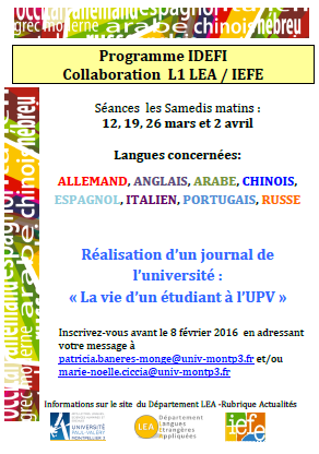 attention les dates sont maintenant : 12 & 19 mars et 2 avril