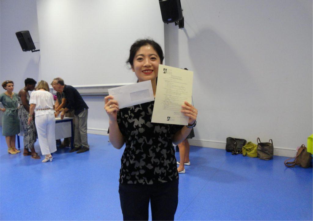 Qi, nouvellement diplômée du Master LEA NPI anglais-chinois